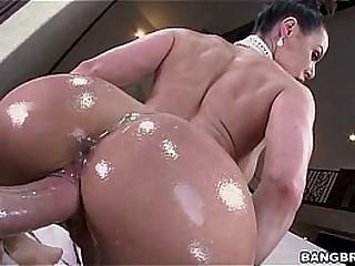 Fat oiled ass riding a dick